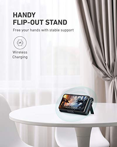 Wireless Portable Charger 20000mAh, AUKEY USB C Power Bank PD 3.0 with Foldable Stand, Quick Charge 3.0 Cell Phone External Battery Pack for iPhone 12/12 Pro/12 Pro Max/11/XR, Samsung, iPad Air