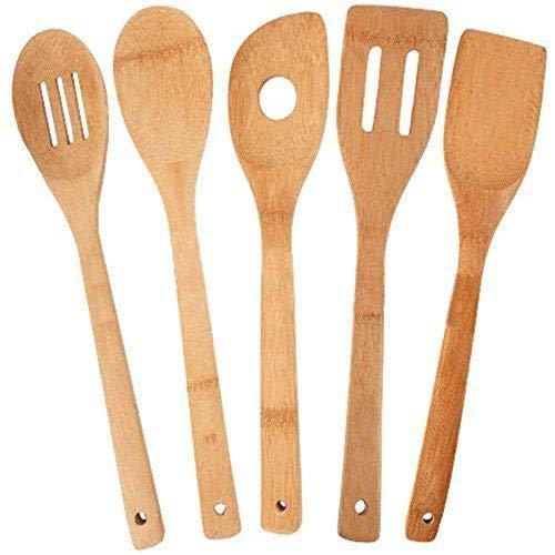 Depory Bambus Kochlöffelset Küchenutensilien Backen Werkzeuge hitzebeständig Entwässerung Löffel Spatel Turner Salat Schaufel 5pcs