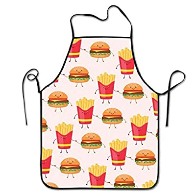 """QUEMIN Tabliers de frites et hamburgers pour femmes et hommes, tablier de chef de cuisine, tablier à bavette réglable pour la cuisine, service - 20,4 """"X 28,3"""""""