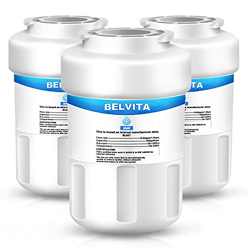 BELVITA MWF Refrigerator Water Filter Compatible with GE MWF, MWFINT, Kenmore 46-9991, SmartWater, MWFP, MWFA, GWF, HDX FMG-1, WFC1201, GSE25GSHECSS, PC75009, RWF1060, 197D6321P006(3 Pack,White)