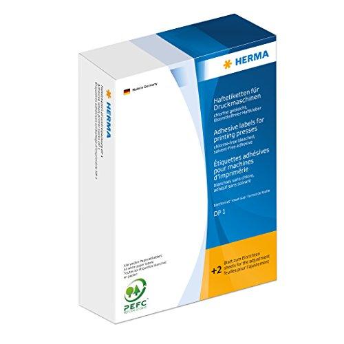 HERMA 2840 Haftetiketten für Druckmaschinen, klein (30 x 12 mm, Blattformat 168 x 120 mm, DP1, Papier, matt) selbstklebend, permanent haftend, mit Greifer- und Anlagerand, 1.000 Etiketten, weiß
