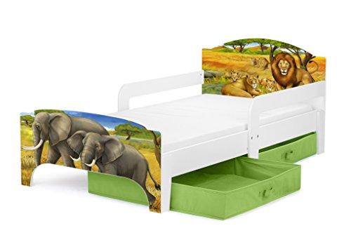 Leomark kinderbed met groene lades voor beddengoed en matras 140 x 70 Motief: Safari