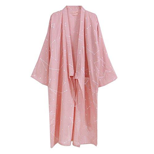 Bata de algodón de Las Mujeres japonesas Bata de Kimono Pijamas camisón- # 0C