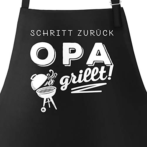 MoonWorks Grill-Schürze für Männer mit Spruch Schritt zurück Opa grillt Baumwoll-Schürze Küchenschürze schwarz Unisize