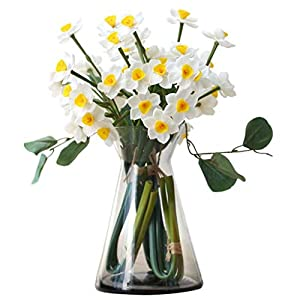 ADSE Artificial Flower Daffodil with vase Floral Fake Flower for Home Decoration