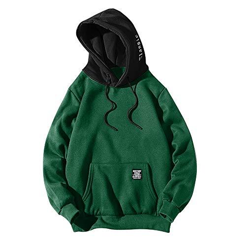 ZAFUL Casual Unisex Hoodie Long Sleeve Color Block Pullover Drawstring Pocket Sweatshirt Green S