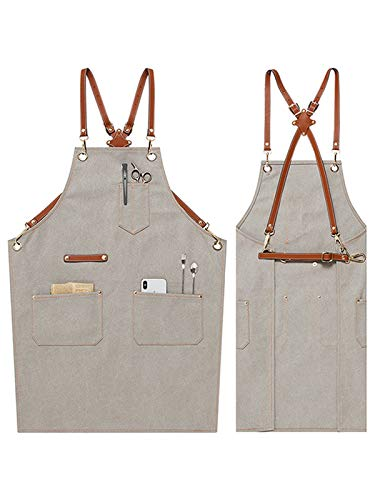 Men's and Women's Handmade Denim Bib Apron Leather Neck Belt Chef Kitchen Barbecue Tool Pocket Apron Gray Craft Workshop Garage Pastry Bakery Apron