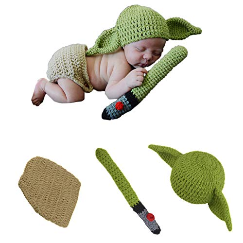 TIMSOPHIA Newborn Infant Baby Photography Prop Crochet Knit Hat Diaper Costume Set Handmade Cap Outfits Hat for Baby Shower(Green)