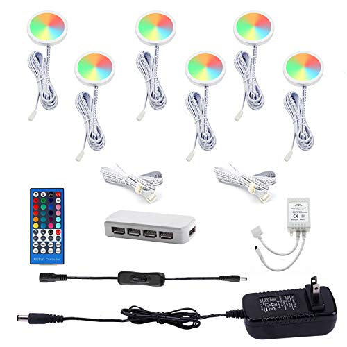 AIBOO Color Changing Christmas Xmas Decor Under Cabinet LED Lighting Kit IR Control Multi Color Puck Lights for Kitchen Shelf Counter Furniture Holiday Lighting 6 Lights, 18W RGBWW RGB+Warmwhite
