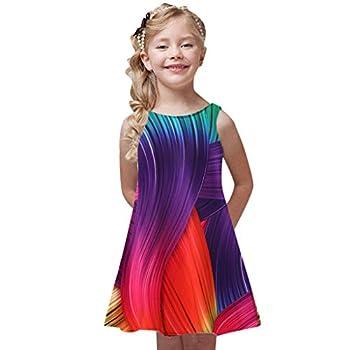 WOCACHI Little Girls 3D Mini Dresses Toddler Girls Summer Princess Dress Kids Baby Printing Party Sleeveless Dresses New Born Birth Knitted Rib Boatneck Sleeveless Cute Cartton Patern Blanket o-Neck