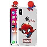 Marvel Avengers Coque en Gel Transparent pour Apple iPhone Series iPhone XS Max Spider Man