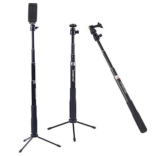 Smatree SmaPole Q3 Teleskopstange mit Stativ für GoPro Hero 5/4/3+/3/2/1/Session/für Kompaktkameras/Mobiltelefone