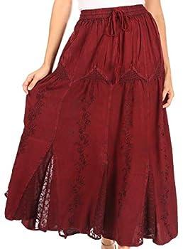 Sakkas 4484 - Olivia Womens Maxi Bohemian Gypsy Long Skirt with Elastic Waist and Lace - Burgandy - OSP