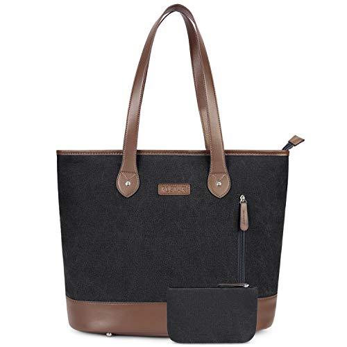 UtoteBag 15,6 Zoll Damen Laptoptasche Canvas Laptop Schultertasche Umhängetasche Leichte Stylische Tote Bag für Frauen Business Aktentasche Handtasche für 15,6'' Laptop Notebook