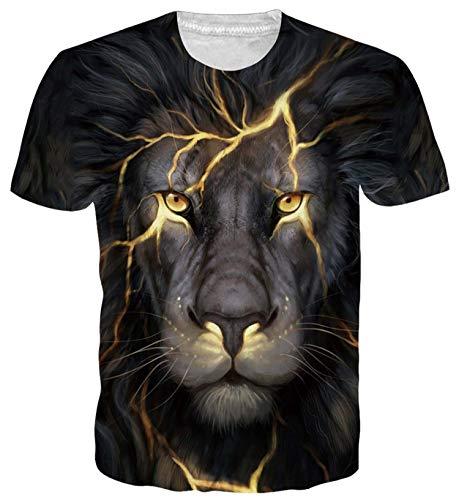 ALISISTER 3D Lion Tshirt for Mens Boys Cool Print T Shirts Funny Summer Crewneck Short Sleeve Beach Hawaiian Tee Tops Outfits M