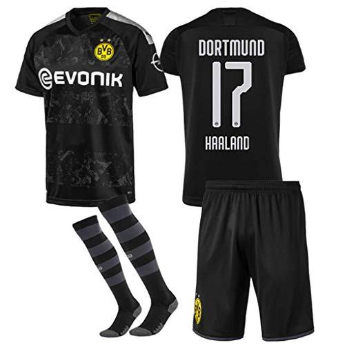 GSPURS 2019-2020 Neue Saison (zu Hause und unterwegs) Borussia Dortmund Fußballtrikot Shortsocken # 17 Erling Haaland Fußballtrikot für Kinder Teenager Erwachsene Erwachsene-A-10-11(H:145-155cm)