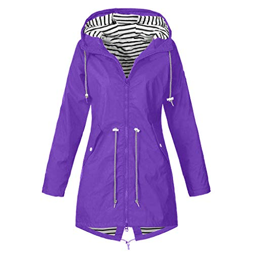 Yowablo Outdoorjacke Regenjacke Jacke Damen Übergangsjacke Jacke Damen Steppjacke Jacke Damen Jeans Jacke Damen Winter Mäntel Kapuzenpullover Damen Sweater (M,1- Lila)
