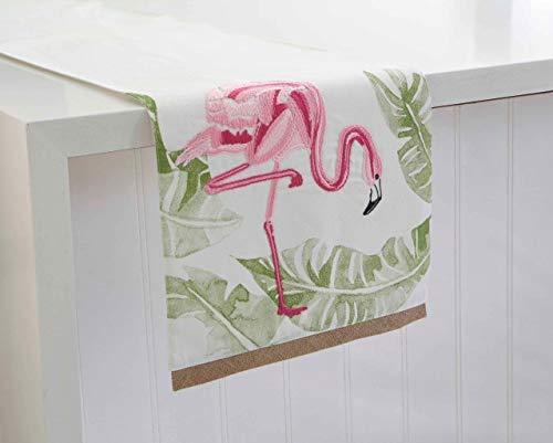 KIG Exclusives Tischläufer Flamingo Jute, Bestickt, 33 x 183 cm