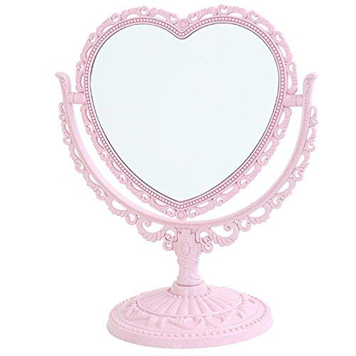 XPXKJ 7-Inch Tabletop Vanity Makeup Mirror with 3X Magnification, Two Sided ABS Decorative Framed European for Bathroom Bedroom Dressing Mirror (Pink Heart-Shaped)