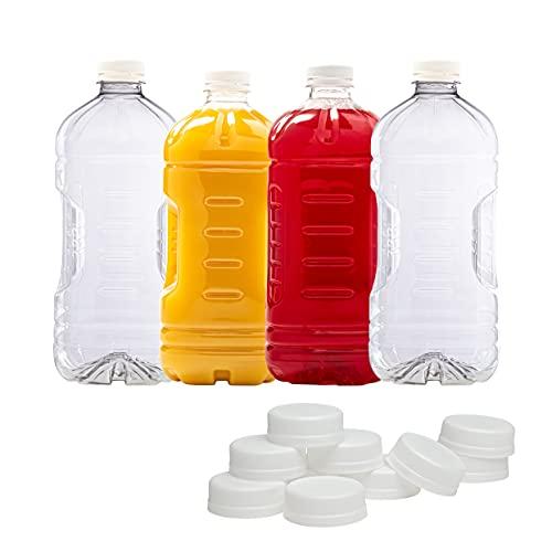 (4 Pack) Disposable Plastic Liquid Leak Proof Bottles | 64 Oz with Lid BPA-Free for Juice Milk Tea Lemonade