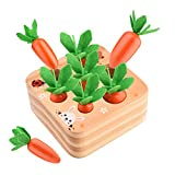 smttw Educational Wooden Toys for Toddlers, Baby Carrots Harvest Shape Size Sorting Game, Montessori Toys for 1 Year Old Boys and Girls, Developmental Learning Gifts for Fine Motor Skill