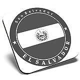 Gran posavasos cuadrado BW - Bandera de El Salvador Centroamérica   Posavasos de calidad brillante   Protección de mesa para cualquier tipo de mesa #41859