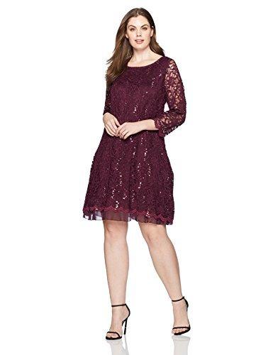 Tiana B Women's Plus Size Lace a-Line Dress, Eggplant