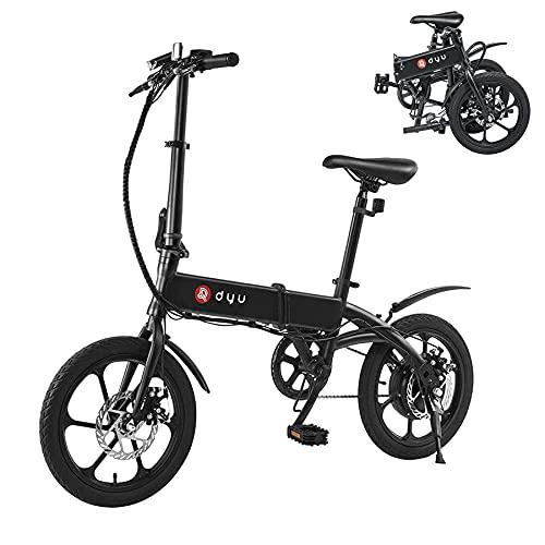 "Bicicleta Eléctrica, DYU 16"" Bicicleta Eléctrica Plegable Inteligente, 240W 36V 5Ah Motor Batería de Litio E-Bike para Adultos y Adolescentes"