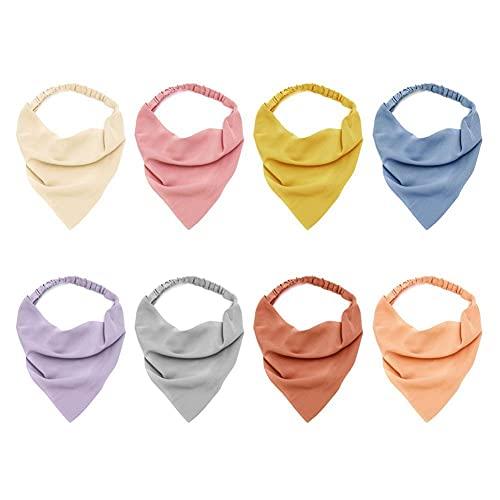 XCSM Pañuelo elástico Triangular para el Cabello de 8 Piezas, Diadema, Turbante, pañuelo para la Cabeza, pañuelos para el Cabello de Color Puro, Sombreros para Mujeres y niñas