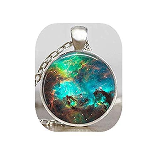Youkeshan Nebulosa colgante espacial turquesa, Astronomía Geek Jewelry, ciencia ficción Galaxy