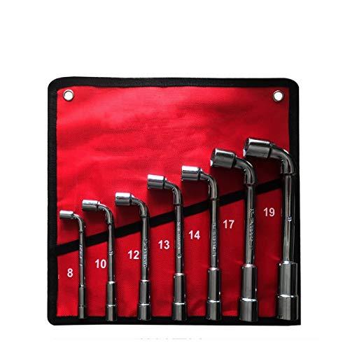 Conjunto de herramientas de llave de llave de reparación de automóviles Llave de llaves de zócalo tipo liso de alta carbono L Tipo Tipo Tubería Herramienta de perforación Kits Kits con paquete de bols