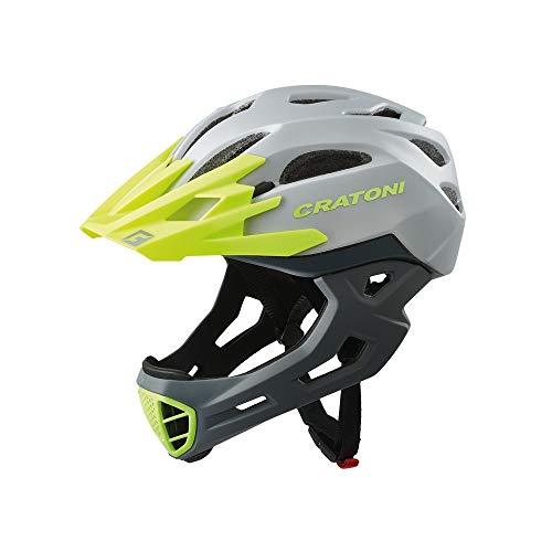 Cratoni C-Maniac Fahrradhelm Fullfacehelm BMX Freeride Downhill (grau-Gruen, M-L (54-58 cm))