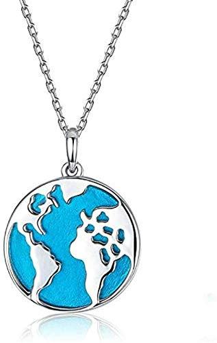 ZGYFJCH Co.,ltd Venta de Collares Viajes Alrededor del Mundo Colgante Esmalte Mapa Azul Tierra Collares Regalo de la joyería