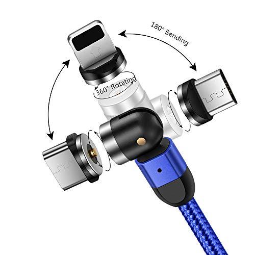 Cable Magnético 3 en 1, Cable de Carga Tipo C/Micro USB Cable de Cargador teléfono 1m, rotación Libre de 360 Grados + 180 Grados Compatible con Galaxy/i Productos/Huawei/Xiaomi/Kindle (Azul)