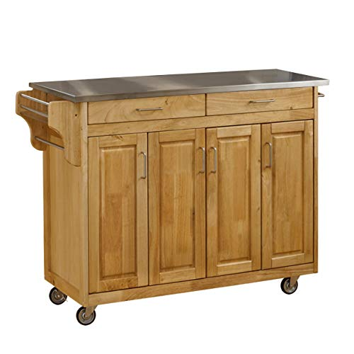 Create-a-Cart Natural 4 Door Cabinet Kitchen Cart with Stainless Steel Top by Home Styles