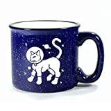 ASTRONAUT CAT Camp Coffee Mug in NAVY BLUE speckled ceramic camping cup