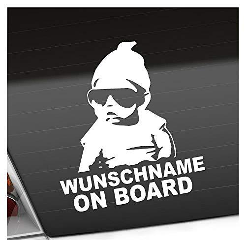 Kiwistar Wunschname on Board Baby Aufkleber Sticker 25 Farben Neon Matt