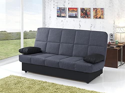 MUEBLIX.COM | Sofa Cama Martina | Sofas de Salón Modernos | Asientos y Respaldo Espuma | Sofa Clic Clac | Estructura Tablero de Particulas | Color Antracita