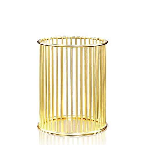 DIAOD Nordic Aushöhlen Make-up Pinsel Pot Inhaber Organizer Eisen Rundes Praktische Stift Bleistift Cup Rose Gold Makeup Cosmetic Organizer Box (Color : Gold)