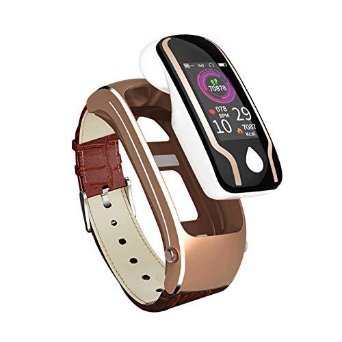TAOYATAO Reloj inteligente impermeable con monitor de frecuencia cardíaca, monitor de actividad con contador de pasos, contador de calorías, podómetro (cinturón de cuero marrón Y9)