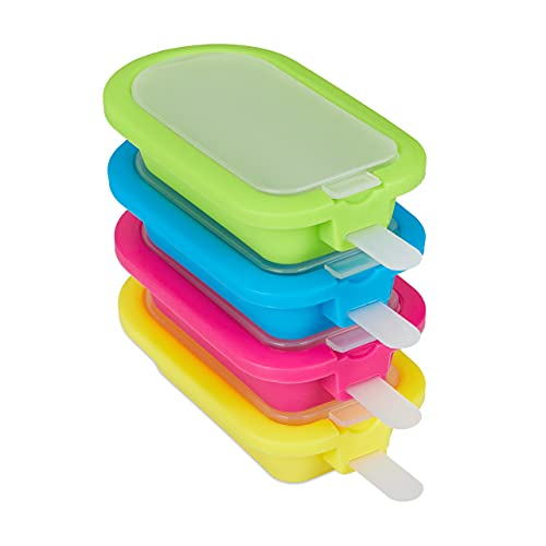 Relaxdays Eisformen 4er Set, Silikon, Eis am Stiel, Wassereis, Speiseeis, BPA frei, Stieleisform, grün/blau/pink/gelb, 10035824