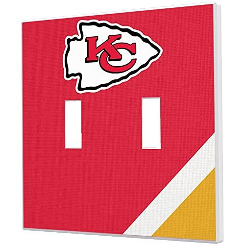 Strategic Printing Kansas City Chiefs Diagonal Stripe Double Toggle Light Switch Plate -  3523469-505