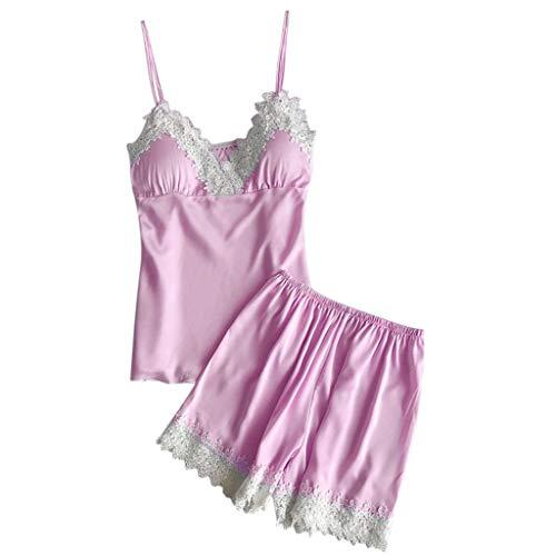 Mujer Pijamas Batas Cortos Lenceria de Aspecto Brillante Conjunto de Pantalones Cortos de...