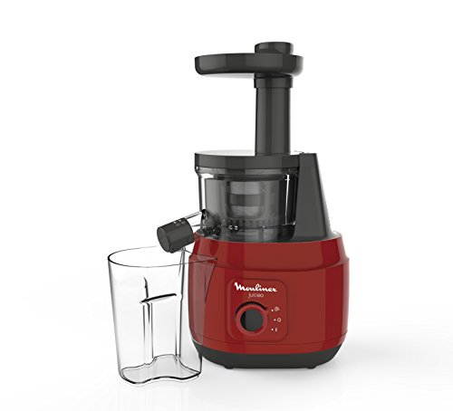 Moulinex Juiceo Licuadora De Prensado En Frío, 150 W, 0.8 litros, Plástico/Acero Inoxidable, Rojo/Negro