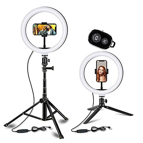 Potok Anillo de luz LED de 10 pulgadas con 3 modos de luz, regulable, para cámara de escritorio, para streaming en directo, maquillaje, vídeo de YouTube, compatible con iPhone y Android, color gris