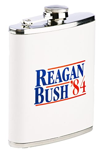 Funny Guy Mugs Reagan Bush '84 Stainless Steel 7oz Hip Flask, White