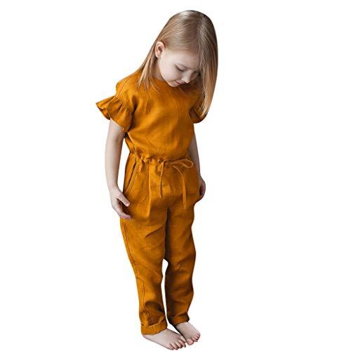 Mbby Pagliaccetti Bambina Estivi, 1-5 Anni Tutine Ragazza Manica Corta Maniche Tinta Unita Pigiama Tutina Body Giallo Outfits (Giallo, 18-24 Mesi)