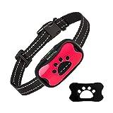 MASBRILL Collar Antiladridos Recargable para Perros Pequeños Medianos y Grandes, Sonido y Vibración Collares Anti ladridos Dispositivo 7 Niveles de Sensibilidad Ajustables - Rosa