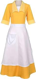Women's Yellow Waitress Dress Housemaid Cosplay Costume Halloween