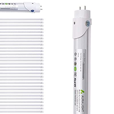 Aura 30 pack T8 LED Light Tube - 4 Foot LED bulbs Fluorescent Tube 18W = 40W Replacement, Daylight 5000k, Double End Power, Magnet Ballast with Shatterproof Frosted Cover - UL, DLC
